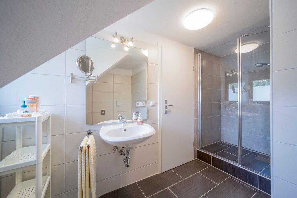 Sehr großzügiges Bad mit großer Dusche, kleinem Regal und Ankleide-/Frisier-Bereich